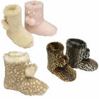 LADIES DUNLOP SLIPPERS BOOTS FAUX FUR WOMENS ANKLE YETI PLUSH BOOTIE SHOE SIZE