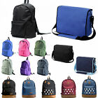 Mens Womens Backpack School Bag Satchel Canvas Messenger Laptop Bag Crossbody