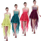 Valentines Beaded Sexy High-Low Evening Gown Bridesmaid Prom Wedding Party Dress