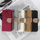 Bling Flip Magnetic Leather Stand Wallet Card Case Cover For Apple iPhone 5C
