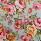 per 1/2 metre/FQ Victoria Rose Aqua dressmaking/craft fabric 100% COTTON