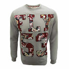 FLY 53 SWEATSHIRT DRASTIC MEASURES MENS GREY MARL FLORAL PRINT TOP UK XXL