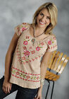 Roper Womens Brown 100% Cotton S/S Floral Embroidery Jersey Tunic Shirt