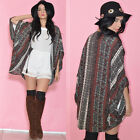 Ethnic Tribal  Draped Cocoon Hippie Boho Festival Cape Coat Jacket with Tassels