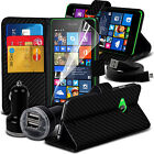 Carbon Fibre Wallet Leather Case Cover Holder & Dual Bullet Charger & Data Cable