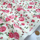 per 1/2 metre/fat quarter English Rose 100% cotton fabric dressmaking/craft PINK