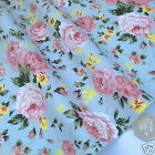 per 1/2 metre/fat quarter English Rose 100% cotton fabric dressmaking PALE BLUE