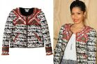 Isabel Marant pour H&M Beaded Jacket White Red Grey UK 8 US 4 EU34 BNWT New Tags
