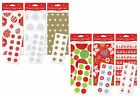 5 x Sheets Christmas Tissue Paper & Stickers Gift Wrap 6 Designs Red Gold Silver