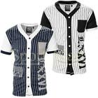 Mens Soulstar V Neck Striped American Baseball T-Shirt Buttoned Jersey Top Size