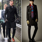 Stylish Mens Double Breasted Long Trench Coat Outerwear Overcoat Pea Coat Parka