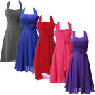 Vintage 50's 60s Halter Short Prom Bridesmaid Evening Gowns Party Cocktail Dress