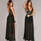 2015 Sexy Lace Long Evening Party Split Bridesmaid Prom Summer Dresses Size S L