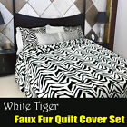 White Tiger Printed Faux Fur Animal Quilt Cover Set DOUBLE QUEEN KING