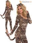 Ladies Leopard Bodysuit Adult Cougar Fancy Dress Outfit Sexy Catsuit Costume