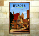See Old Europe via Modern Jet - Reproduction Vintage Air Travel Poster