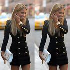 New Women Slim Long Sleeve Buttons Casual Bodycon Cocktail Mini Dress Reliable