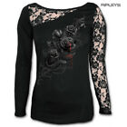 Spiral Ladies Black Goth FATAL Attraction Lace Top L/Sleeve All Sizes