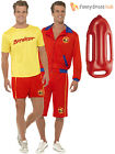 Mens Baywatch Costume + Float Lifeguard Sports Uniform Fancy Dress 90s TV Stag