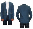 MARC DARCY ITALIAN DESIGNER TWEED TAILORED MENS BLAZERS JACKET - DION BLUE