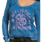 AFFLICTION Women LS Pullover Sweat Shirt Top RUMBLE Biker UFC Sinful $64