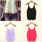 Women Fashion Sling Solid Bilayer Sleeveless Shirt Chiffon Loose Tops Blouses