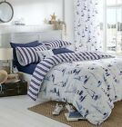 NAUTICAL BOAT YACHT REVERSIBLE DUVET QUILT COVER BEDDING SET PADSTOW NAVY WHITE