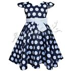 Girls Polka Dots Cap Sleeves Dress Bow Tie Summer Beach Kids Clothing 2-7Y New