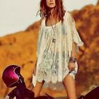 Vintage Sexy Lady Hippie Boho People Embroidered Floral Lace Crochet Mini Dress