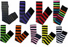 BLACK WHITE RED PURPLE ORANGE STRIPE EMO GOTH HALLOWEEN OVER KNEE SOCKS
