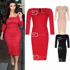AN33 Womens Ladies Celebrity Inspired Floral Lace 3/4 Sleeve Midi Bodycon Dress