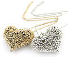 Pretty Charm 3D Heart Pendant Hollow Statement Chain Necklace Fashion Jewelry