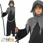 KIDS GREY GRIM REAPER CLOAK & HOOD - all ages 7-12 years - boys fancy dress