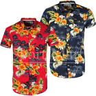 Mens Soulstar Floral Beach Print Slim Summer Hawaiian Short Sleeve Shirt Size
