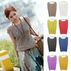 Sexy Womens Loose Shirt Hollow-out Short Batwing Sleeve Knit Tops Crohet T-Shirt