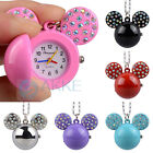 New Cute Mouse Pendant Quartz Pocket Crystal Necklace Watch For Child Girl Gift