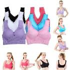 Women Seamless Lace Stretch Tank Vest Sport Gym Yoga Bras Front Plunge Crop Bras