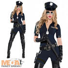 Traffic Policewoman Ladies Fancy Dress Cop Officer Uniform Womens Costume Outfit