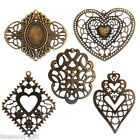 30PCs Hollow Embellishment Findings Pendant Bronze Tone For Jewelry DIY