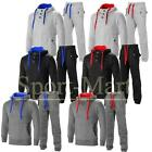 Mens Contrast Cord Squad Fleece Warm Up Hooded 3 Button Jogging Tracksuit Size