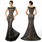 SUMMER BLACK+Vintage Lace Mermaid Bridesmaid Evening Prom Party Gown Dress PLUS