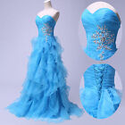 BLUE PRINCESS~ Long Formal Party Ball Gown Prom Evening Wedding Bridesmaid Dress