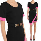 TheMogan PLUS Day to Night Asymmetrical Contrast Short Sleeve Belted Dress