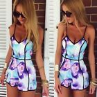 Women's Clubwear Straps V-Neck Floral Bodycon Party Playsuits Jumpsuits Trousers
