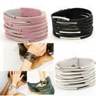 Fashion Simple Rock Punk Movable Metal Ring PU Leather Button Bracelet Bangles