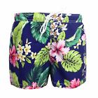FRANKLIN & MARSHALL MENS BLUE AND FLORAL PATTERN SWIM SHORTS