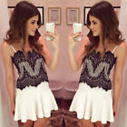 New Fashion Women Slim Lace Straps Summer Cocktail Evening Club Patty Mini Dress