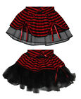 Childrens Black n Red Mini Minx Tutu Skirt Pleated or Cyber Party Fancy Dress