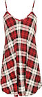 Womens Plus Size Check Tartan Print Strappy Sleeveless Ladies Mini Swing Dress