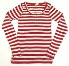 Junior Women's Shirt Billabong Henley Long Sleeve Tee Red/Grey Stripes